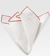 White and Coral Peach Linen Hanky
