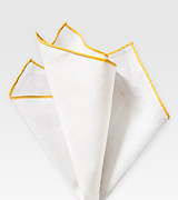 White Linen Hanky with Yellow Border