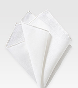 Solid White Linen Hanky