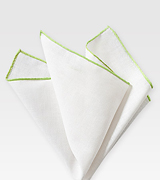 White Linen Hanky with Lime Border