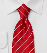 "Fine Striped Tie ""Elegance"" - Fire-engine Red"