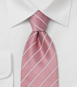 Business Tie  Pink with fine white stripes