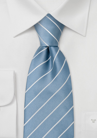 Striped light blue silk tie<br> Necktie in baby blue with white diagonal stripes