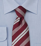 Italian Neckties Wine red striped tie