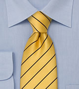 Narrow Striped Silk TIe in Golden-Yellow and Navy