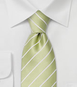 Light Lime-Green Silk Tie With White Stripes