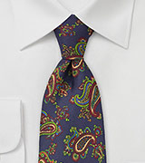 Designer Silk Tie with Multicolored Paisley Print