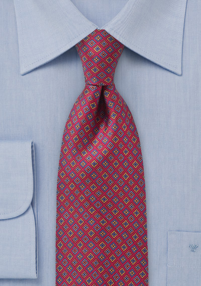 Punchy Diamond Motif Tie in Bright Burgundy