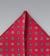 Geomtric Floral Pocket Square in Red