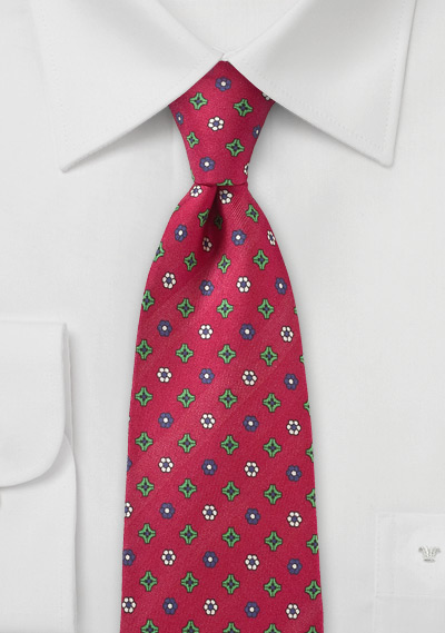 Red Silk Tie with Geometric Floral Print