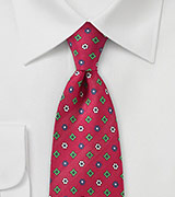Classic Silk Tie in Red with Floral Print