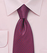Grid Patterned Tie in Red and Blues