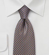 Grid Patterned Tie in Browns and Blues