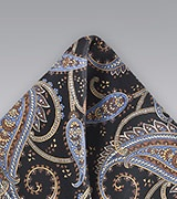 Black and Light Blue Paisley Pocket Square