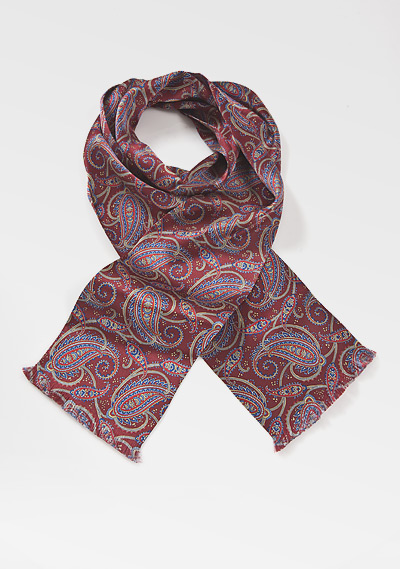 Elegant Mens Silk Scarf in Burgundy