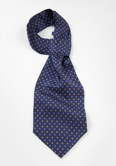 Midnight Blue Ascot with Yellow Floral Print
