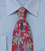 Paisley Patterned Tie in Crimson and Blue