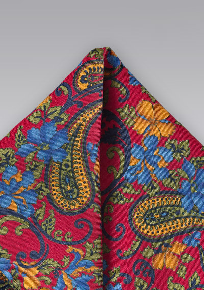 Vintage Pocket Square with Flowers