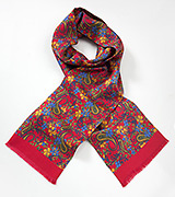 Floral Silk Scarf for Men in Red