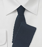 Navy Blue Knit Tie with Light Blue Tip