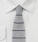 Cotton Knit Striped Tie in Gray and Navy