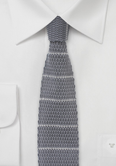 Cotton Knit Necktie in Gray and Silver