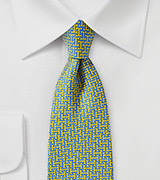 Light Blue and Yellow 70s Print Necktie