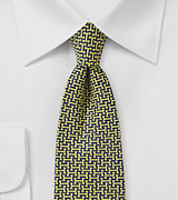 Midnight Blue and Yellow Graphic Print Tie