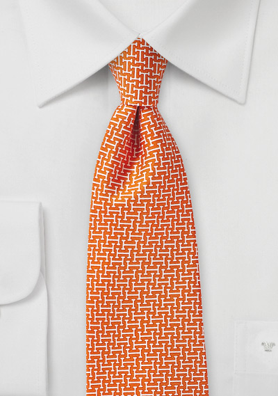 Geometric Print Silk Tie in Orange and Cream
