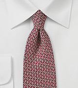 Retro Print Designer Silk Tie in Burgundy and Cream
