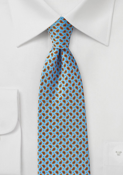 Allover Paisley Tie in Light Blue, Orange, and Navy