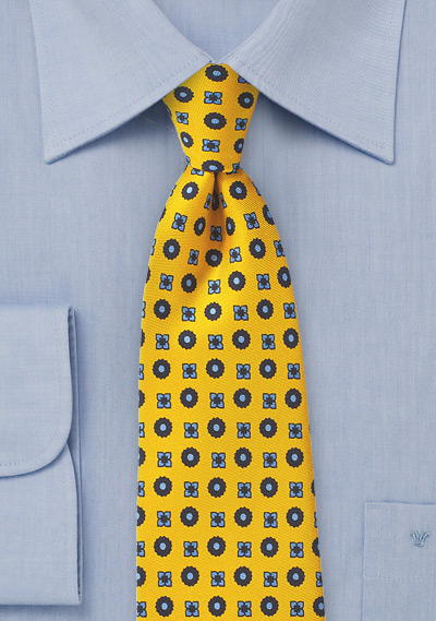 Golden Yellow Foulard Silk Tie
