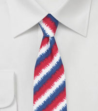 3D Striped Tie in Red, White, Blue