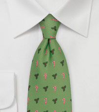 Candy Cane and Mistletoe Tie in Fresh Green