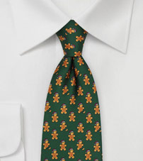 Oliver Green Tie with Gingerbread Men