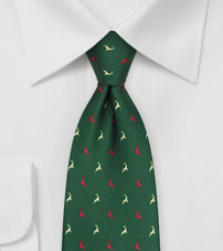 Dark Green Tie with Reindeer Print in Red and Cream