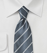 Double Pinstriped Necktie in Gray