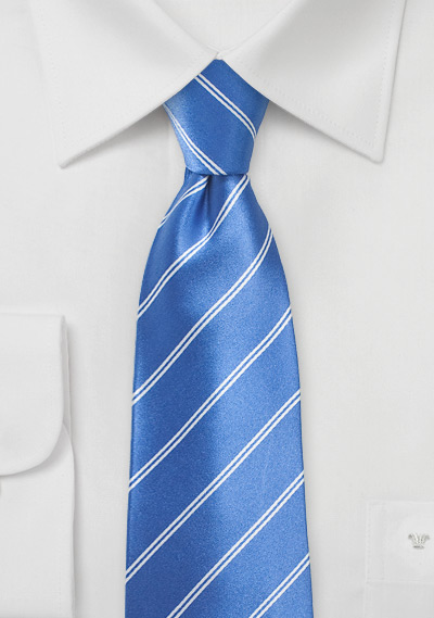 Sky-Blue Necktie with Double Pin Stripe