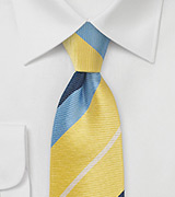 Bold Striped Tie in Yellow and Blue