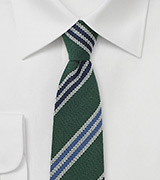 Hunter Green Wool Skinny Tie with Stripes