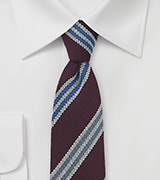 Burgundy Wool Tie with Blue Stripes