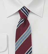 Red Wool Skinny Tie with Blue Stripes
