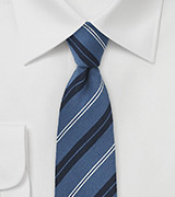 Wool Tie in Slate Blue Stripes
