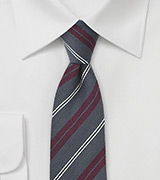 Scholar Striped Necktie Shale and Burgundy