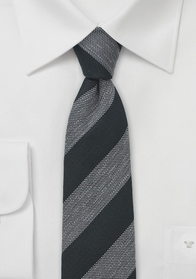 Charcoal and Gray Striped Skinny Tie