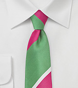 Striped Designer Tie in Lime and Magenta