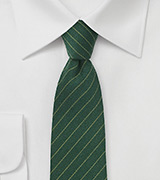 Dark Green Wool Tie with Pencil Stripe Design