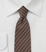 Wool Pencil Stripe Tie in Espresso