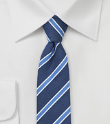 Linen Striped Skinny Tie in Summer Blue