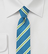Trendy Linen Skinny Tie in Turquoise and Lime